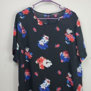 Vince Camuto black red blue floral blouse sz XL